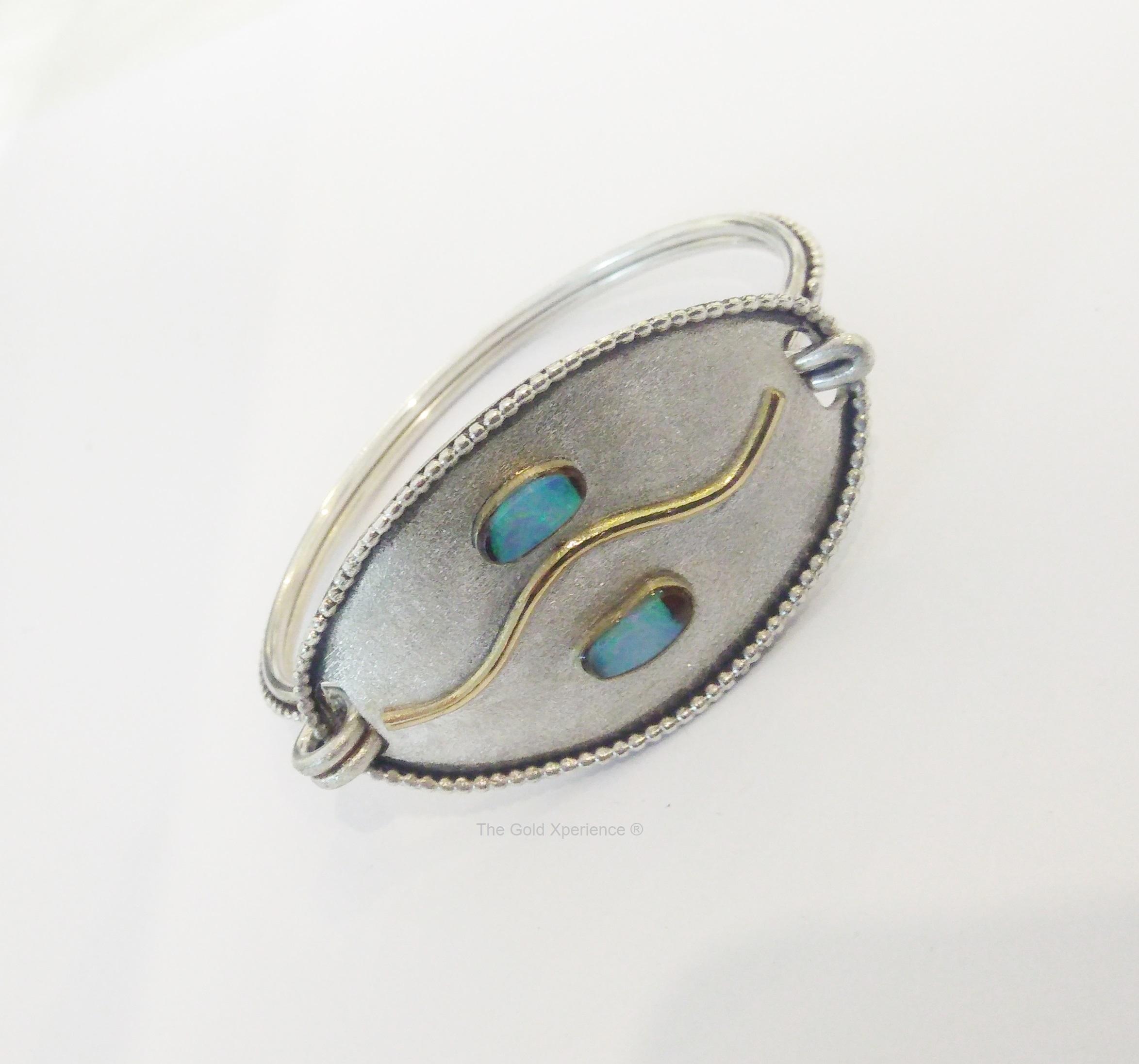 Armband zilver-goud-opaal