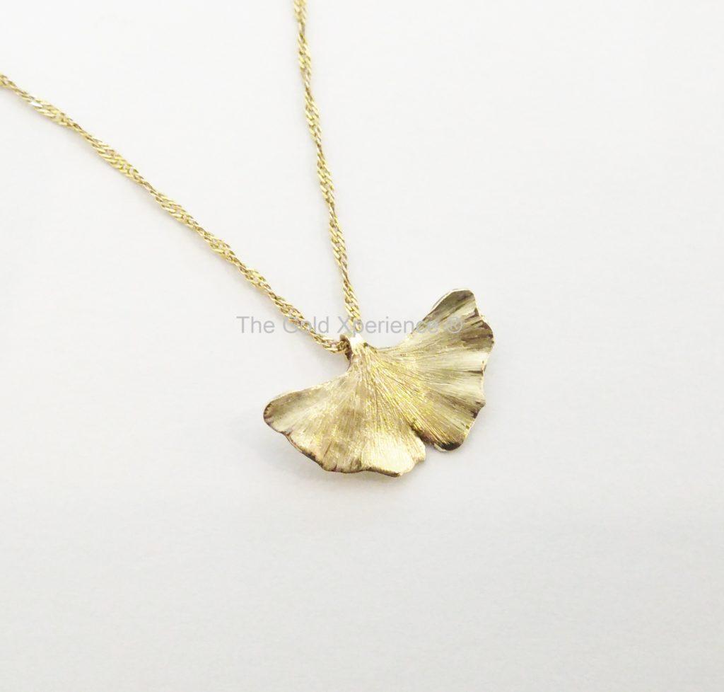 Gingko Biloba blad goud ketting