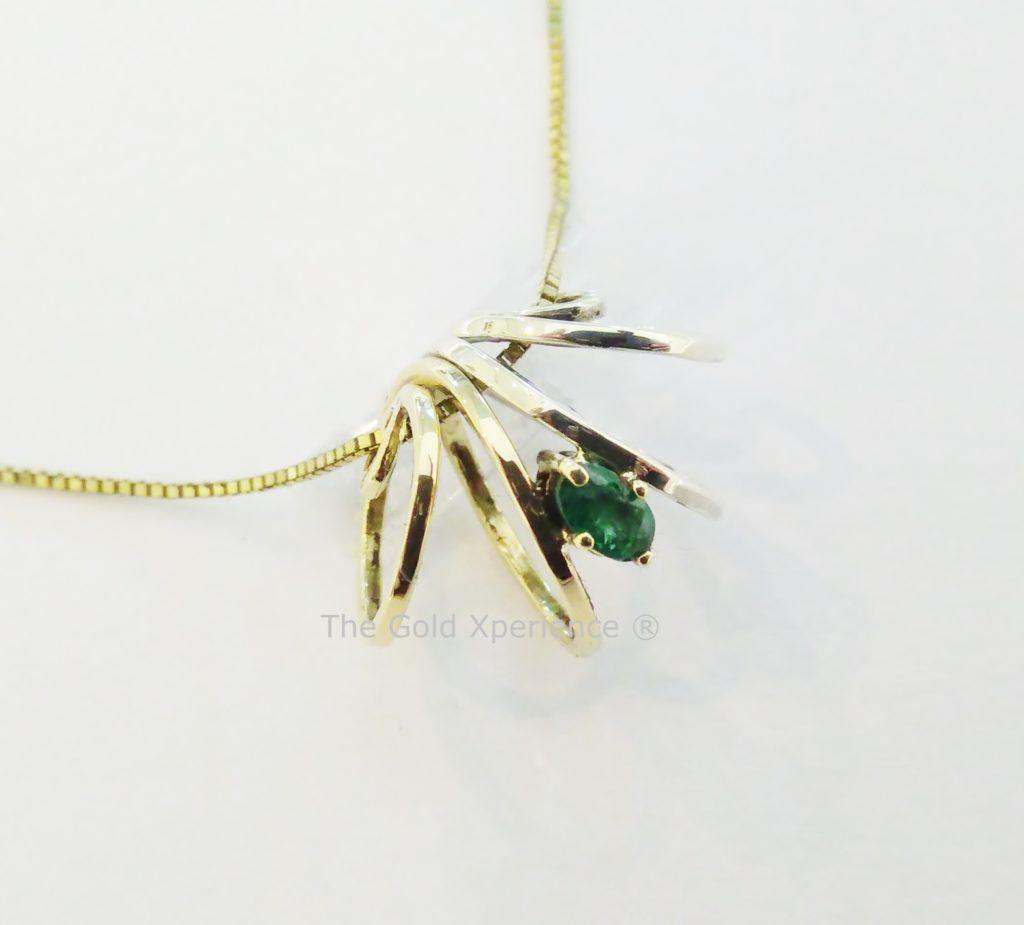 Hanger goud smaragd