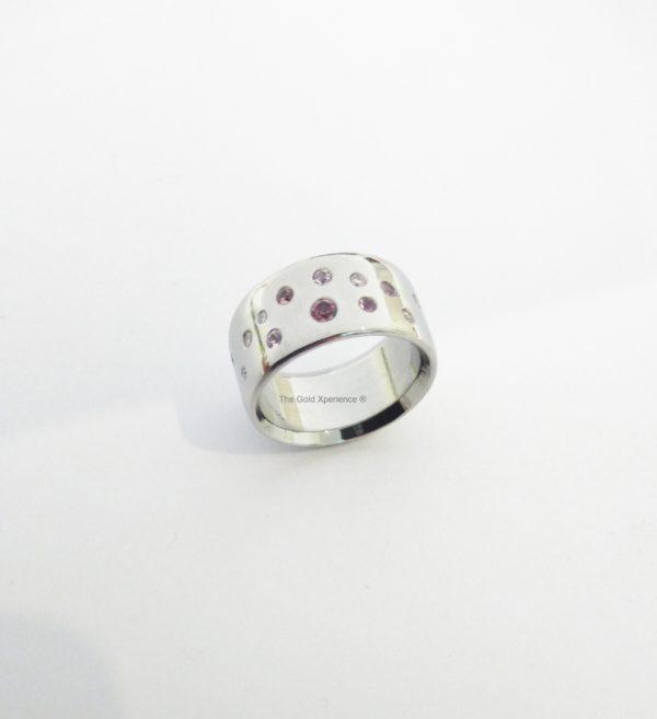 GDX Galaxy ring roze saffier zirkonium zilver