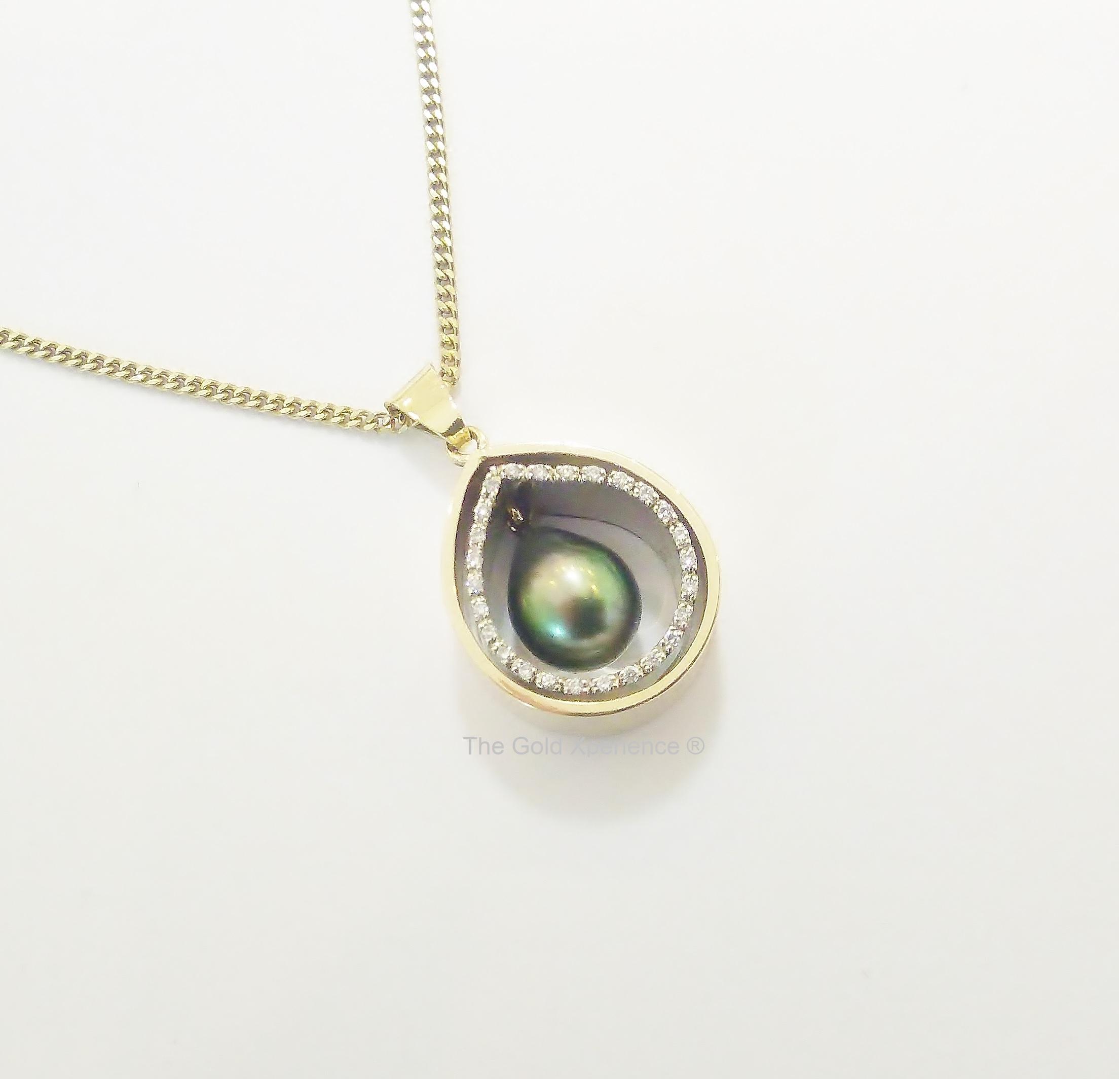 Collier hanger Tahitiparel wit goud geel goud diamanten