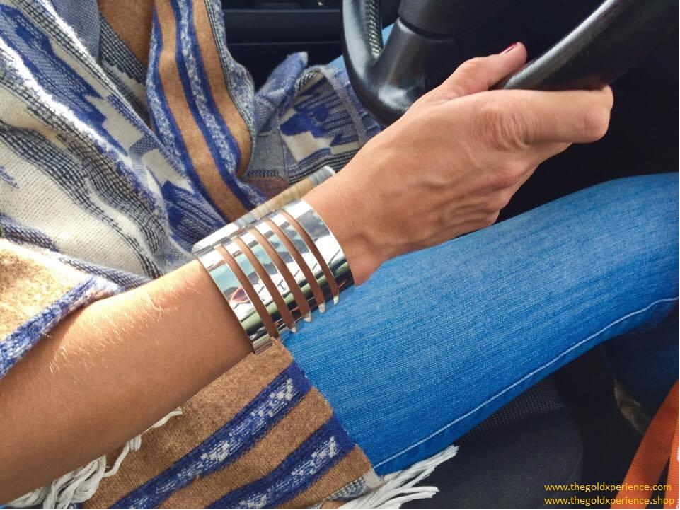 Armband zilver Stripes