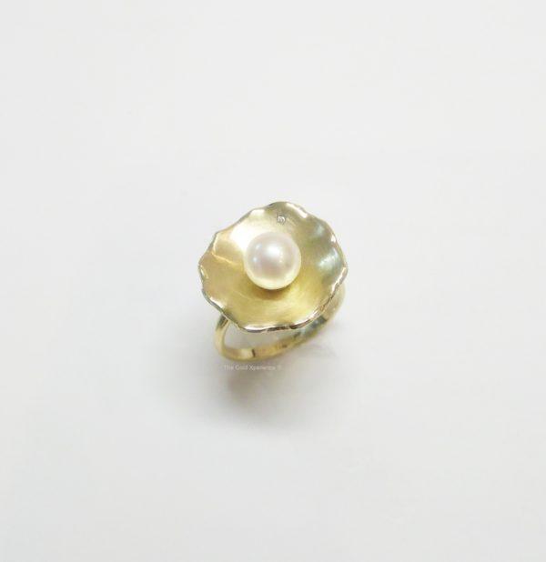 Ring bloem goud parel diamant