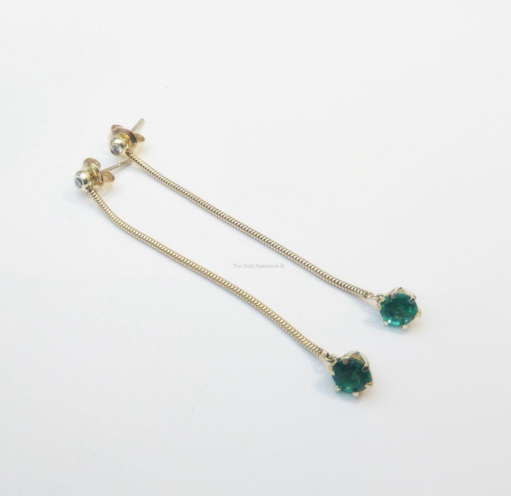 Shoulderdusters Oorbel goud smaragd