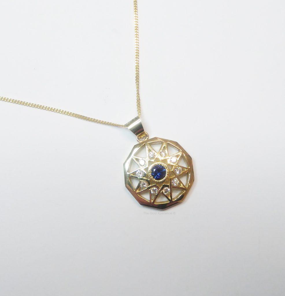 Gouden ketting met hanger Cordoba saffier diamant