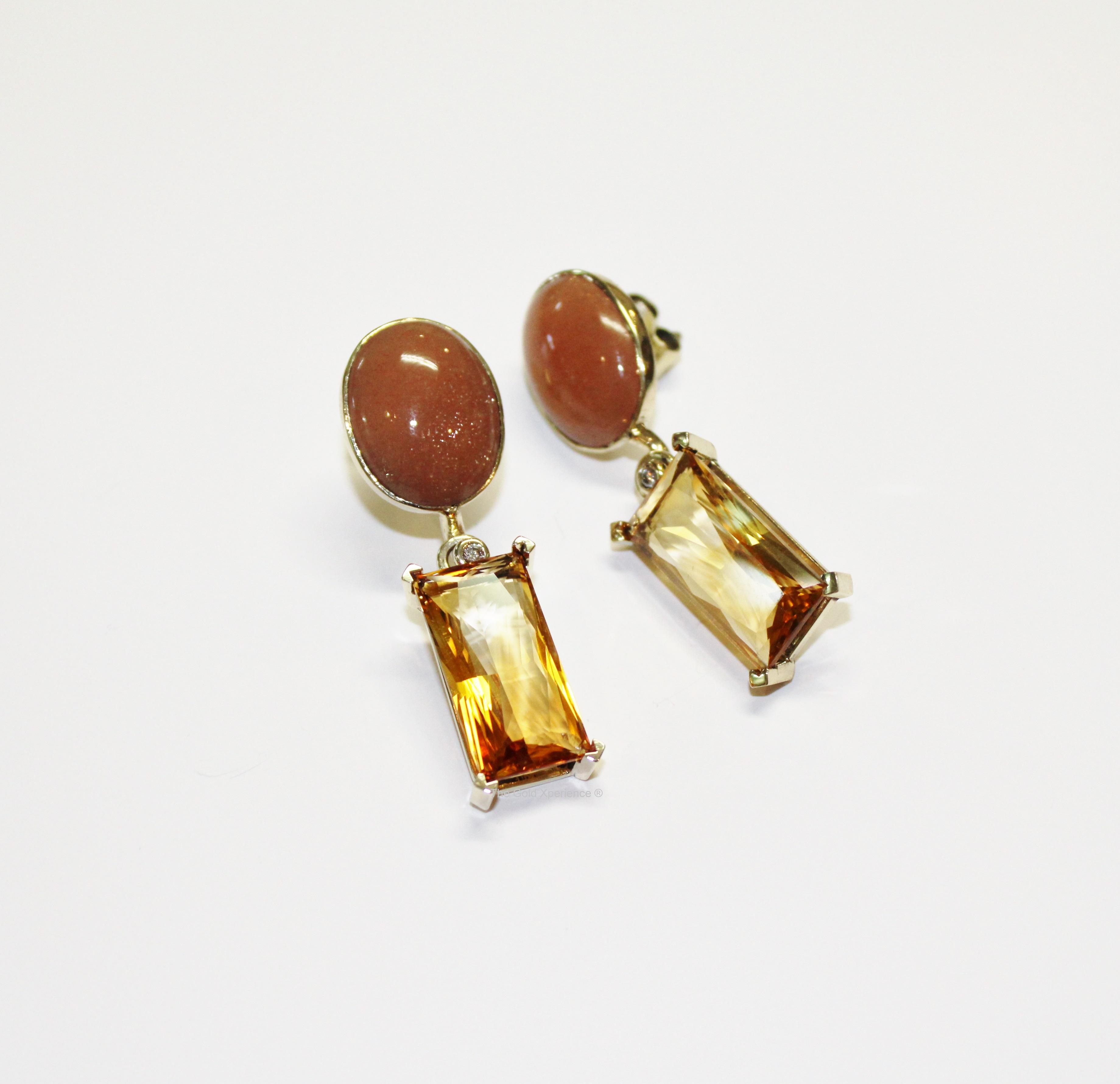 Gouden oorbel Oranje maansteen - citrien