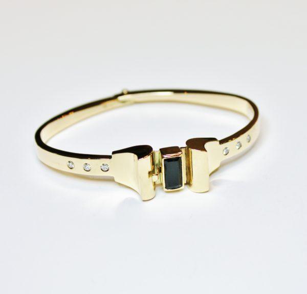 armband goud toermalijn diamant amsterdamse school exclusieve juwelen handgemaakt art deco