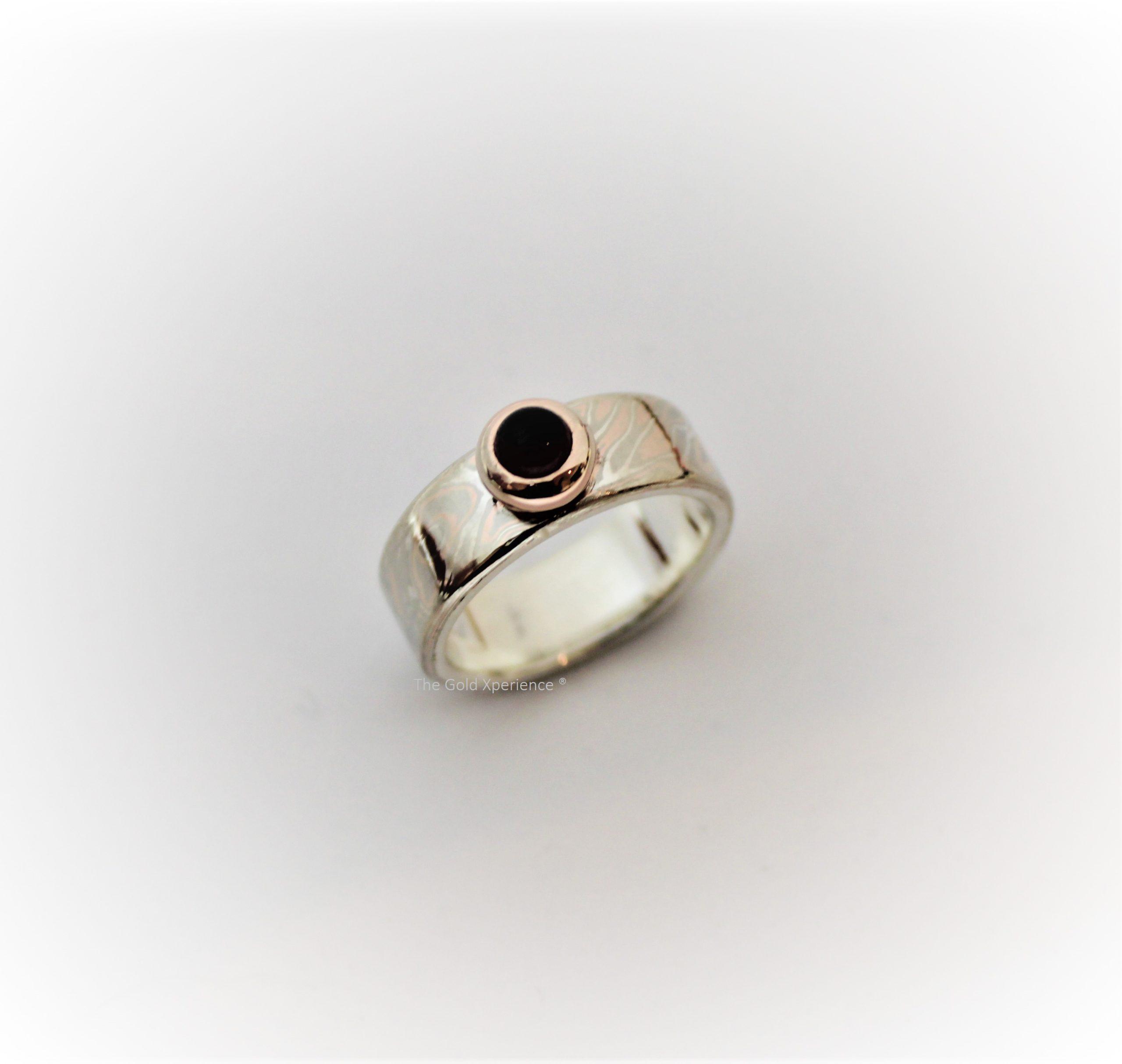 Ring mokume gane hout structuur rosé goud zilver