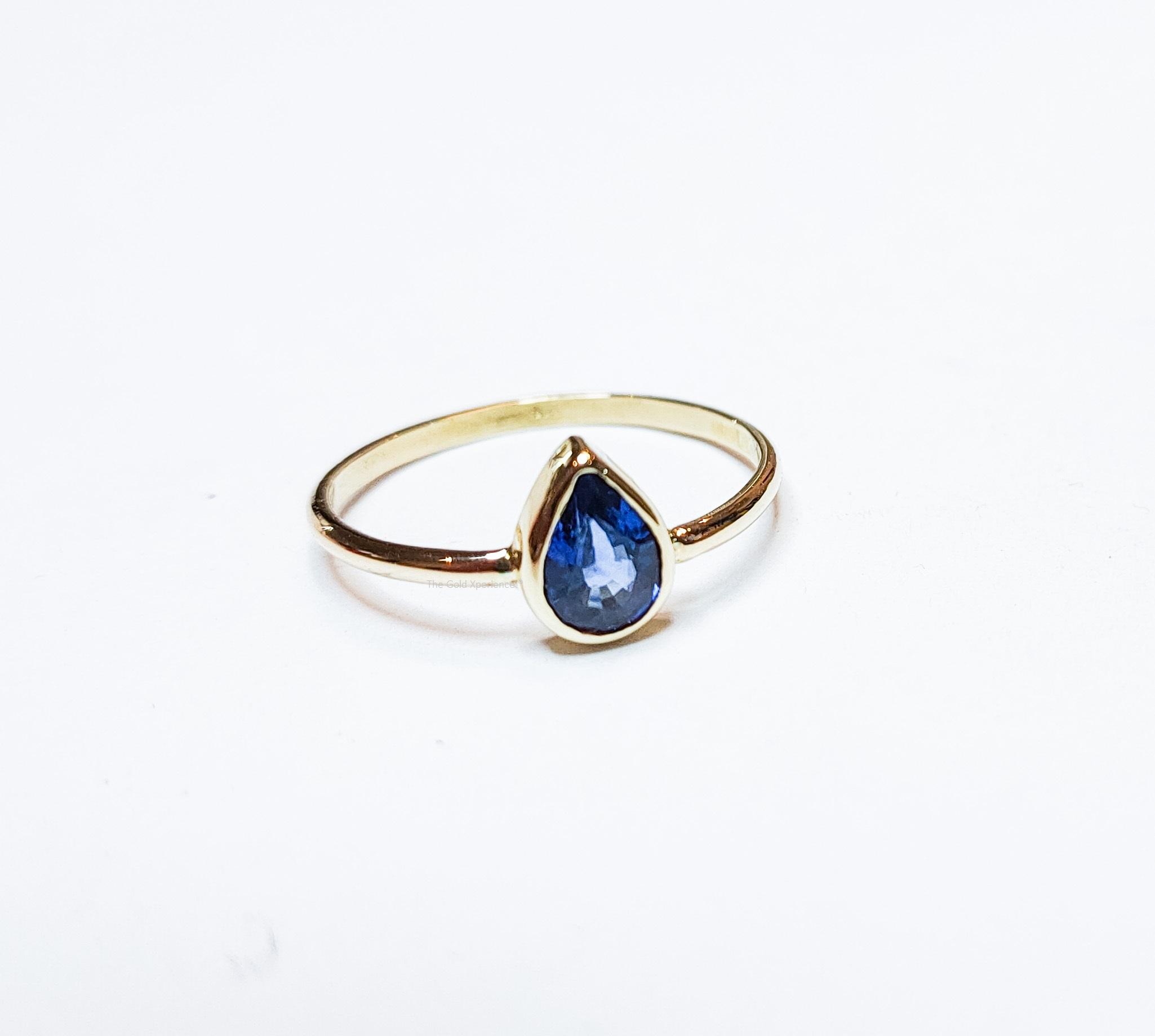 gouden ring saffier druppel