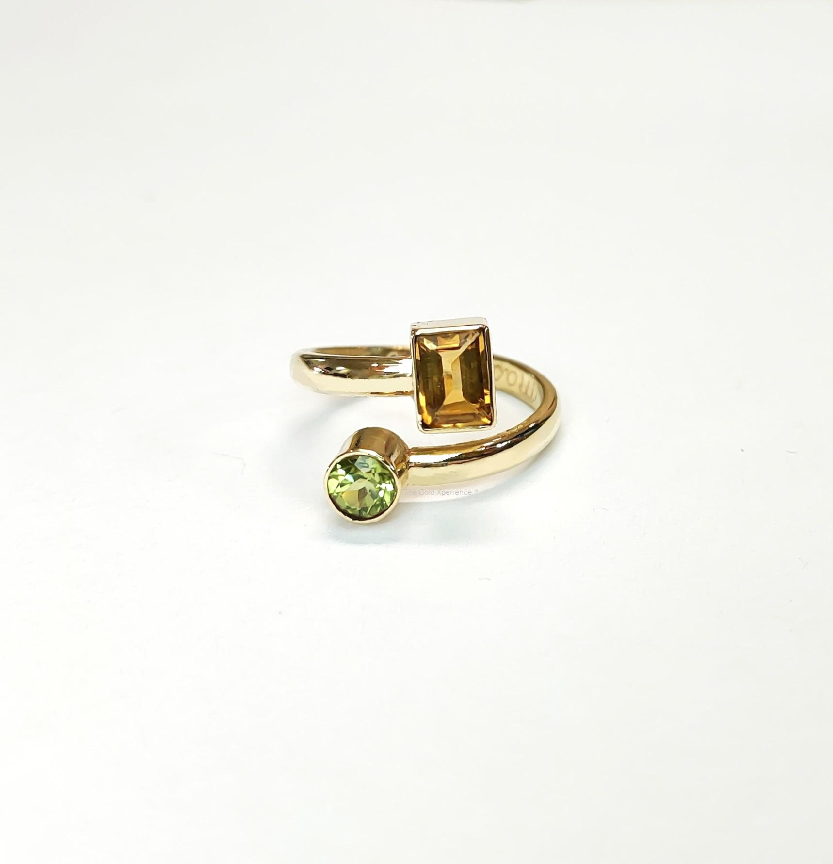 Ring goud citrien peridot