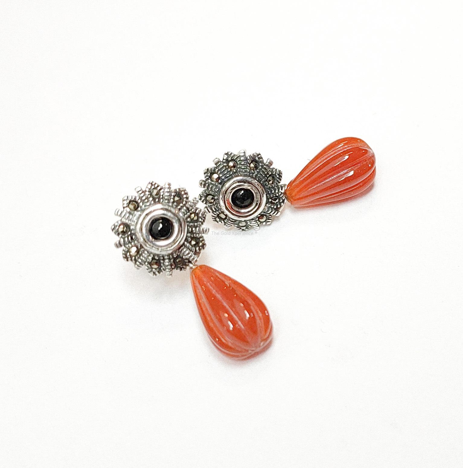 Zilveren oorbellen zwart oranje